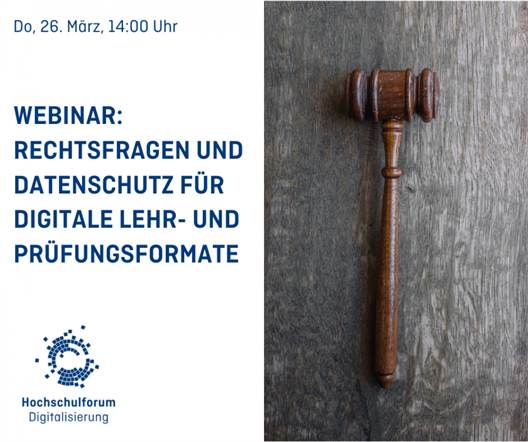 On 26 March 2020, the Hochschulforum Digitalisierung will hold a webinar on legal issues and data protection for digital teaching and examination formats.