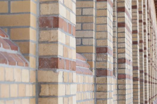 This picture shows the bricks of the Building Schlachthof.
