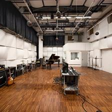 This picture shows the sound studio of Faculty of Media at University of Applied Sciences Düsseldorf.