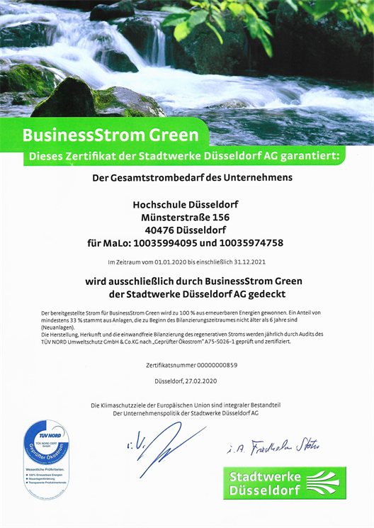 Certificate from Stadtwerke Düsseldorf, which certifies that the Düsseldorf University of Applied Sciences uses 100% green electricity.