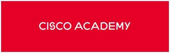 red box with white letters: cisco academy