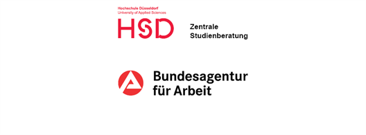 Logo of Federal Employment Agency and logo of Hochschule Düsseldorf and short cut of Student Advisory and Counselling Service (ZSB)