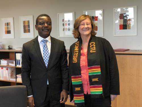 Reception: Prof. Dr. Joshua Danso Owusu-Sekyere, Vice-Chancellor of CCTU, und Prof. Dr. Edeltraud Vomberg, President of HSD