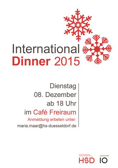 red snowflakes, International Dinner, on December 08, starting 6 p.m. in Café Freiraum