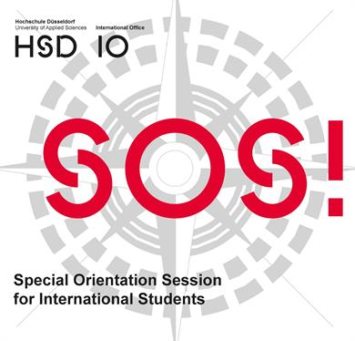 HSD and IO Emblem on the upper left Hand side in black. In the Background in Grey a big gyro compass. In the foreground in big red  letters: SOS! on the lower left side in black: Special Orientation Session for international students