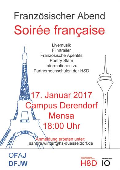 Poster of the French Evening on January 17, 2017. On the left: the silhouette of the Eifel Tower in blue, on the right, the Silhouette of the Rhine Tower in red.