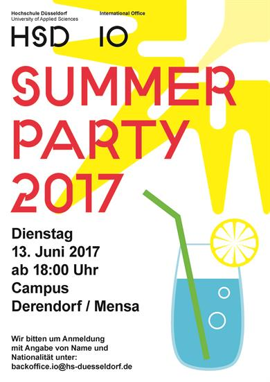 "up on the right a yellow sun, below a glas with water, a green straw and a lemon slice. In big red letters ""Summer Party 2017"""